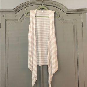 Striped asymmetric vest cardigan
